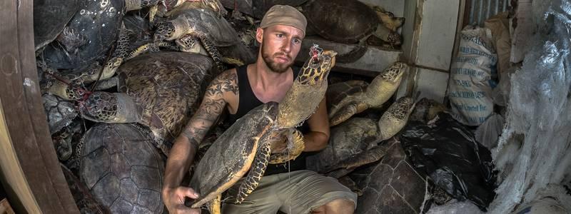 Robert Marc Lehmann mit Schildkröte